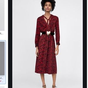 Zara red animal print tied midi dress